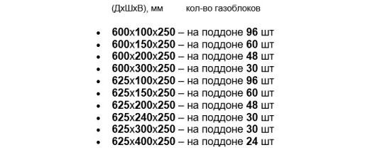 количество газосиликатных блоков в поддоне